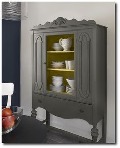 Love the flat charcoal color & like the idea of painting the inside a bright color to liven it up!