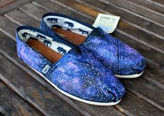 Galaxy TOMS shoes These one-of-a-kind hand-painted shoes feature a galaxy pattern all over the shoes. Carefully hand painted, these custom toms give you the feeling [. Shoes 2018, Prom Shoes, Wedding Shoes, Dress Shoes, Cheap Toms Shoes, Toms Shoes Outlet, Toms Flats, Shoe Outlet, Hand Painted Toms