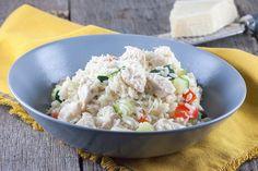 Kazige risotto met kip en courgette