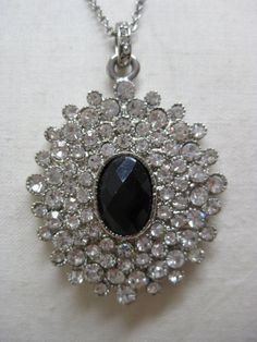 Rhinestone Black Clear Faceted Necklace by vintagejewelryalcove, $20.50