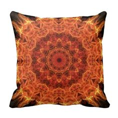 flaming mandala throw pillows