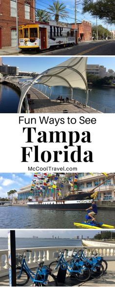 Fun ways to see Tampa include riverwalk, Ybor City, cross-bay ferry, and Bayshore Greenway. Tampa is an idealcarless vacationoption.Downtown Tampa is compact but there are plenty of public transportation options and ways to see Tampa Florida. #LoveFL #TampaBay #TampaFlorida #Tampa #FloridaTravel #Florida