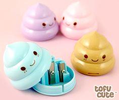 Kawaii Pastel Poop Pencil Sharpener   Is the poop emoji your favorite emoji? You need this.