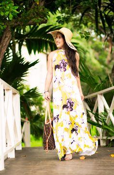 cute & little   petite fashion blog   yellow floral maxi dress, floppy hat, lace-up strappy heels   spring summer beach outfit