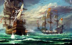 Galeones (inglés vs español) en batalla