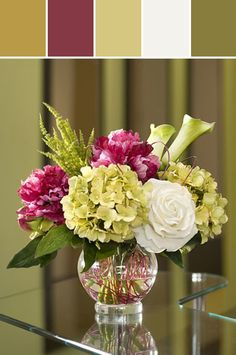 Peony, Hydrangea & Rose Silk Centerpiece Designed By Silkflowers.com via Stylyze