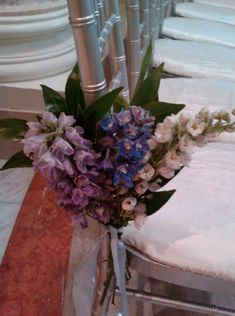 wedding flowers white purple lavender blue green -