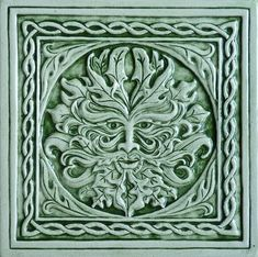 Relief carved Celtic green man ceramic tile by earthsongtiles, $24.95