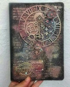 Mixed Media Journal Cover/Chipboards/Gears/Flowers