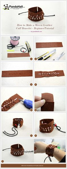 How to Make a Woven Leather Cuff Bracelet - Beginner Tutorial from pandahall.com