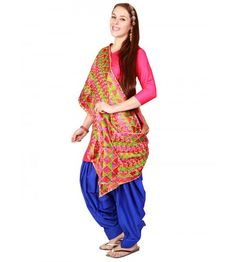 Traditional hand made phulkari stole that can be best worn with a patiala salwar and a bright colour plain kameez. Fashion with jhumkis and look gorgeous wearing this traditional attire by UPTOWNGALERIA. The dupatta is designed in pure cotton and is made in 2.3 metres.