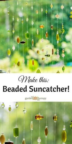 Jewelry Beaded How to make this Beaded Suncatcher Mobile - Add a bit of sparkle to your window with a beaded suncatcher mobile. This suncatcher is a quick DIY project you can create in a weekend afternoon. Crafts To Make, Fun Crafts, Crafts For Kids, Arts And Crafts, Carillons Diy, Diy Wind Chimes, Beaded Curtains, Beading Projects, Dream Catchers