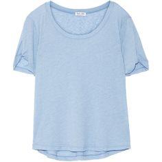 Splendid Stretch-jersey T-shirt found on Polyvore featuring tops, t-shirts, light blue, splendid t shirts, loose tee, light blue t shirt, loose fit t shirts and splendid tops