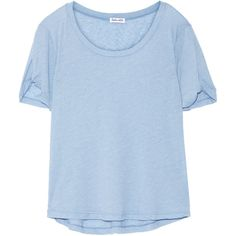 Splendid Stretch-jersey T-shirt (2,450 DOP) ❤ liked on Polyvore featuring tops, t-shirts, light blue, loose fit t shirts, blue tee, stretch jersey, light blue top and splendid tops