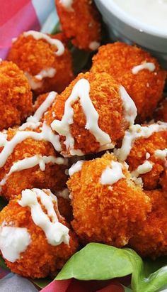 Buffalo Popcorn Chicken ~ Crispy and spicy buffalo-flavored popcorn chicken! Baked – not fried! They require just a few ingredients and only 30 minutes!:
