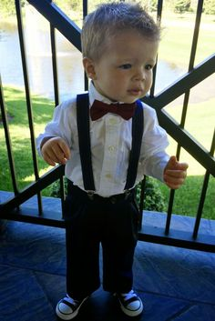 The Heathered Life: My Baby Sister's Wedding Ring Bearer, Bow tie, Suspenders, Converse