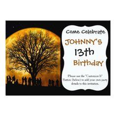 Halloween moon - zombie tree - moon tree card - birthday gifts party celebration custom gift ideas diy