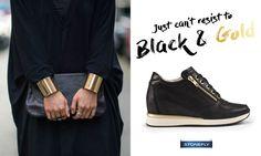 Anche a voi capita qualche volta di non sapere davvero cosa indossare? Noi in questi casi andiamo sul sicuro: l'abbinamento black & gold è trasversale, basic ma ricercato... perfetto per qualunque occasione... e sta bene a tutte! Un po' come le nuove sneakers con plateau interno Jackie3, pezzo forte della nostra scarpiera PE 2016!