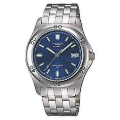 c36b26e05ba8 Casio Men s Classic Quartz Silver Band Blue Dial Moda Metálica