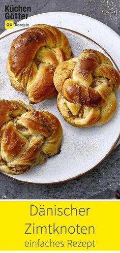 Einfaches Rezept für klassisch dänische Zimtknoten. Ein herrlicher Zimtgenuss! Sweet Bakery, Bagel, Bread, Food, Danish Recipes, Cinnamon, Good Food, Classic