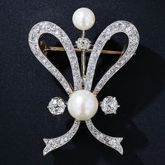 Antique Natural Pearl and Diamond Brooch