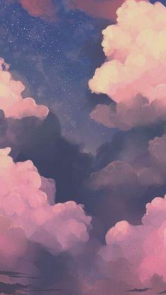 Night sky clouds iPhone wallpaper