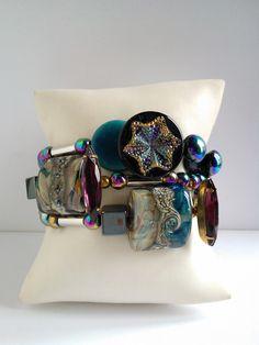 """Nouveauté femme 2017 ,bracelet 3 rangs """"L'Aurore Boréale"""" unique et fait main : Bracelet par les-creations-uniques-de-michel-nala Michel, Creations, Belt, Etsy, Accessories, Vintage, Fashion, Northen Lights, Glass Beads"""