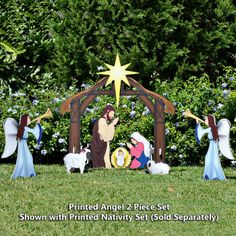 Printed Nativity Angel With Nativity Set (Sold Separately)
