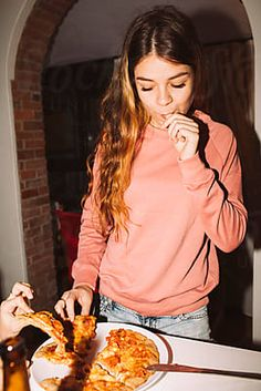 Girl licks a finger after cutting the pizza by michela ravasio - Stocksy United Luxury Real Estate Agent, Girl Photos, Finger, Pizza, Board, Painting, Women, Girl Pics, Fingers