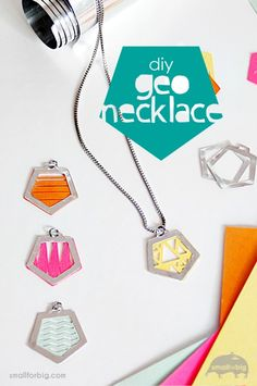DIY Aluminum Geometric Necklaces made with the Cricut Explore -- Small for Big. #DesignSpaceStar Round 2