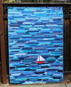 jellyroll quilts Seafarer, a string quilt, is today's feature Jellyroll Quilts, Patchwork Quilting, Scrappy Quilts, Star Quilts, Quilting Fabric, Ocean Quilt, Beach Quilt, Quilting Projects, Quilting Designs