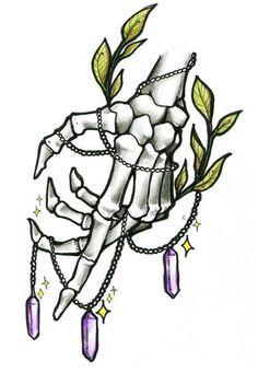 skeletal hand with leaves & amethysts