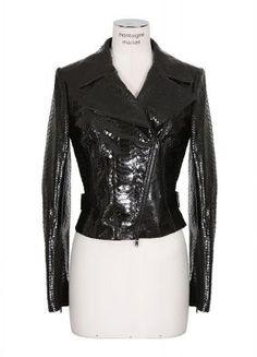 Azzedine Alaïa black glossy python biker jacket