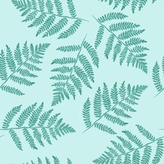 ferns in spruce blue - counterchanged fabric by weavingmajor on Spoonflower - custom fabric