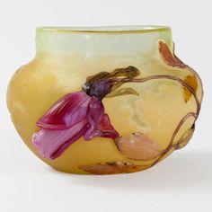 """A French Art Nouveau """"Rose de France"""" vase by Emile Gallé. Circa: 1900"""