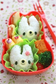 Kawaii Rabbit Twins Kyaraben Bento by momo