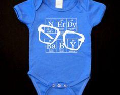 Nerdy Baby Hand-screened Blue Infant Baby Onesie ElementeesTM onesie tee shirt for the nerd in you