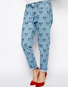 Eleven Paris Jeans in Mickey Mouse Print at ASOS