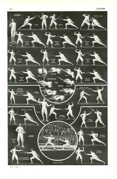 1949 Vintage fencing poster fleuret Antique fencing art Vitage