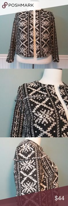 Cropped Jacket with Aztec Print PRICE FIRM Cute cropped cotton jacket from Who What Wear.  Open front style Unlined Who What Wear by Target Jackets & Coats