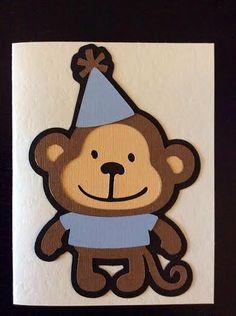 Monkey Happy Birthday Card  blue by MegansPaperCreations on Etsy, $6.00