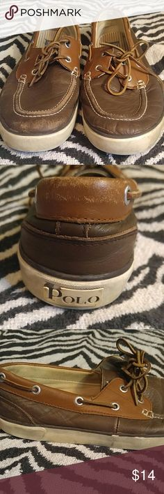 Polo brown leather boat shoes Sz 10.5 Broken in pair of high quality dockside boat shoes in brown on brown leather with a canvas interior. These shoes definitely have some wear but I feel it looks good on this type of shoe especially when worn as a casual shoe. See pictures for condition Polo by Ralph Lauren Shoes Boat Shoes