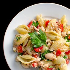 Pasta, Bean, and Tuna Salad — lighten up for summer with this healthy entrée salad