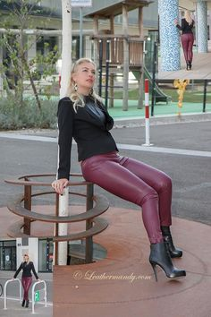 Mandy in tight maroon leather pants and ankle boots