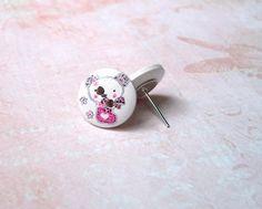 Ohrstecker - Ohrstecker Holzknopf kleiner Bär weiß rosa silber - ein Designerstück von MiMaKaefer bei DaWanda