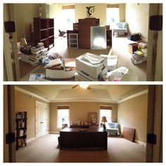 """We helped this mom RECLAIM HER SPACE by turning this playroom into an office. Here's the """"during"""" and """"after"""" shot. #occasionalwife #atlanta #organize"""