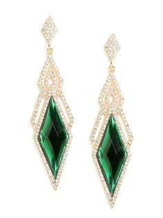 Dial it back to the glorious Thirties with this stunning statement style. The earrings are oh-so-audacious and fabulous, with those giant diamond gems and graphic pavé finery.