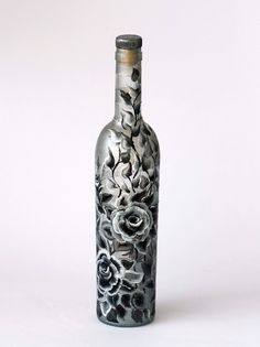 Hand-painted wine bottle