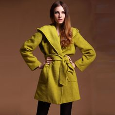 Winter wrap coat J086 / wool coat wrap wrapped coat mustard yellow maxicoat maxt coat shawl collar coat