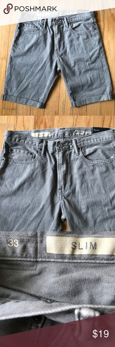 NWT-Gap $1969 gray Denim shorts Great everyday Denim Jean shorts! Size 33 waist. Measures 19 inches in length. Sits below the waist, hits above the knee. Rolled up at the bottom. Made in China. Distressed wash. Features 5 pockets, a button and zipper closure. GAP Shorts Jean Shorts